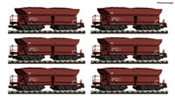 Display of 12 pieces: Self unloading hopper wagons type Faalns 150 DB