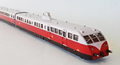 Bugatti Double Unit Diesel Railcar of the SNCF Présidentiel Red/Beige with Mustache Pin Stripping