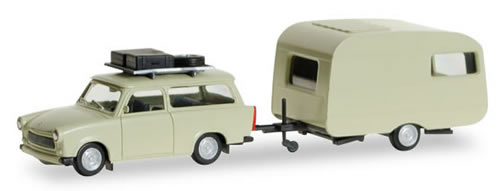Herpa 28790 - Trabant 601 W/Roof Rack And Trailer