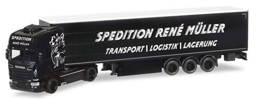 Herpa 308748 - Scania R TL Curtain Semi Rene Muller Transporte