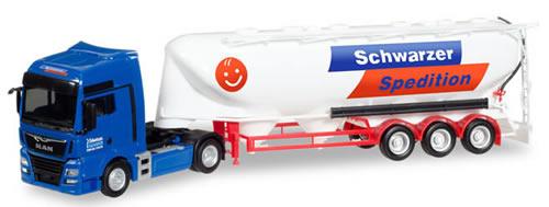 Herpa 308885 - MAN TGX Bulk Tanker Semi Schwarzer Spedition