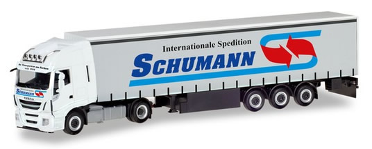 Herpa 310048 - Iveco Stralis XP Curtain Semi Spedition Schumann