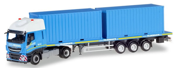 Herpa 310093 - Iveco Stralis Xp, 2 X 20 Container Semi Felberma...