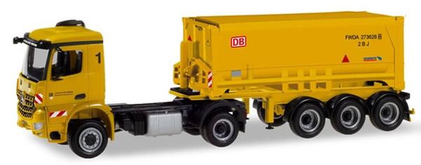 Herpa 310345 - Mercedes Arocs Schmitz Covered Dump Semi Leonhard...