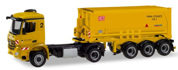 Herpa 310352 - Mercedes Arocs Schmitz Covered Dump Semi Leonhard...