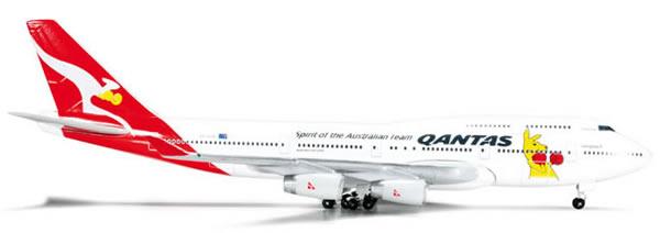 Herpa 523912 - Boeing 747-400 (45.50) Qantas - Boxing Kangaroo