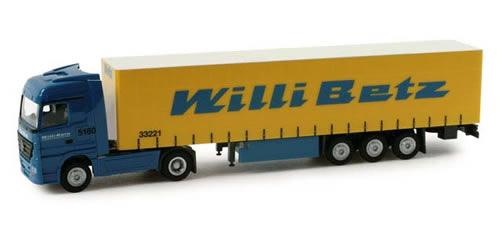 Herpa 65689 - Mercedes-Benz Actros LH curtain canvas semitrailer Willi Betz