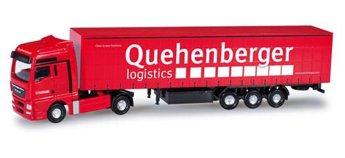 Herpa 65986 - MAN TGX XXL curtain tarp semitrailer Quehenberger Logistics