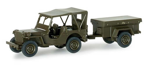 Herpa 741989 - Jeep w/Trailer US Army