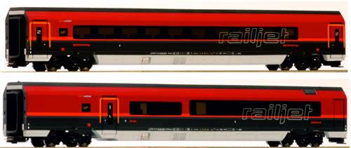 "Jagerndorfer JC10208 - Austrian 2pc Railjet ""Spirit of Europe"" Economy Wagen + First Class Wagen of the OBB"