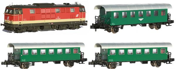 Jagerndorfer JC60403 - Austrian Diesel Locomotive BR 2143.008 with 3 Passenger Coaches of the OBB