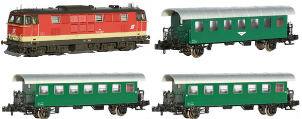 Jagerndorfer JC60403 - Austrian Diesel Locomotive BR 2143.008 with 3 Passenger Coaches of the OBB