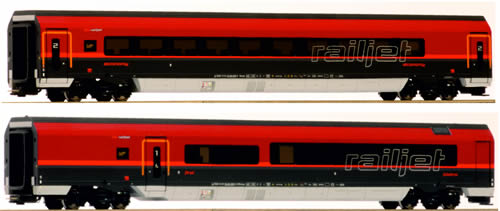 "Jagerndorfer JC70208 - Austrian 2pc Railjet ""Spirit of Europe"" Economy Wagen + First Class Wagen of the OBB"