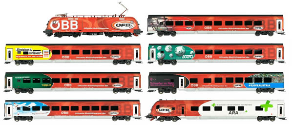 Jagerndorfer JC70902 - 8pc Austrian Electric Locomotive Railjet 1116.225 Set of the OBB
