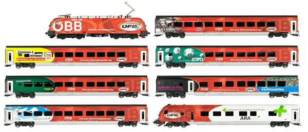 Jagerndorfer JC70902 - 8pc Austrian Electric Locomotive Railjet 1116.225 Set of the OBB