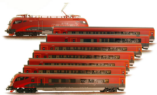 Jagerndorfer jc21102-8 - Austrian 8 Piece Railjet Set with Current Conducting Couplers