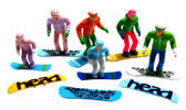 6 Figures with Snowboards