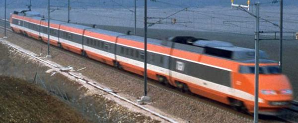Jouef HJ2412 - French 4pc TGV Sud-Est orange Record Mondial 26.2.1981, 380 km/h of the SNCF
