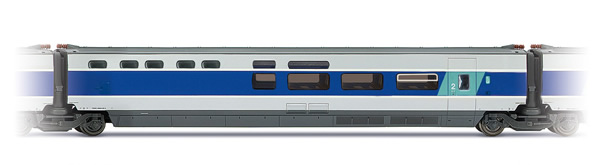 Jouef HJ4117 - TGV Sud -Est, blue and metal grey livery, bar coach