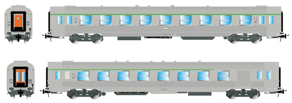 """Jouef HJ4135 - 2pc set DEV Inox, B6Dtj + B9tj """"Corail"""" class indicators"""