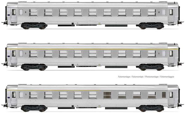 Jouef HJ4146 - 3pc DEV Inox Passenger Coach Set
