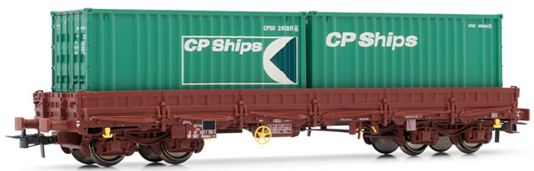 Jouef HJ6150 - French flat car type Remmsof the SNCF; with 2 x 20 containers CP ships