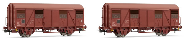 Jouef HJ6154 - French boxcar set type G4 UIC ORE of the SNCF; with opened flaps; oxide red