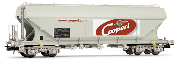 """Jouef HJ6159 - French flat sided hopper car of the SNCF; """"Cooperl"""""""