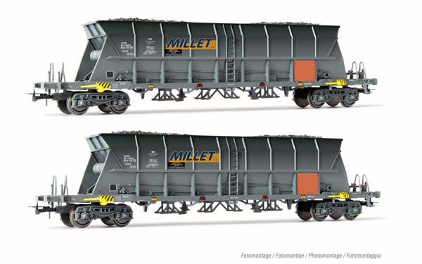 Jouef HJ6209 - 2pc 4-axle coal hopper wagon EF60 MILLET Set