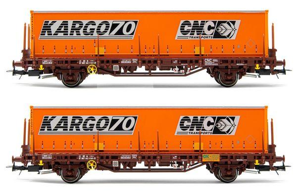 Jouef HJ6224 - 2pc 2-axle stake wagon Lgs Set
