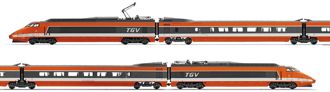 Bogie for tgv sud//is orange jouef