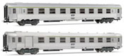 French set of 1 B6 1/2 Dtj + 1 B8 1/2tj  coaches of the SNCF