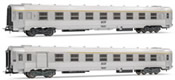 French set of 1 A7Dtj  + 1 B8 1/2 tj coaches of the SNCF