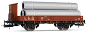 Flat car with pipes load