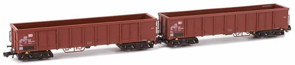 Kato HobbyTrain Lemke H23402 - German 2pc Set Open Goods Wagon Eanos X-052 of the DB AG