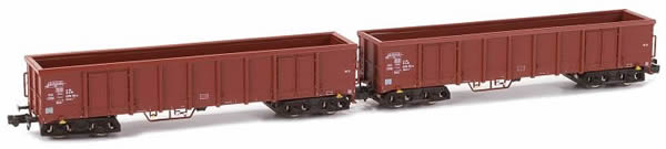 Kato HobbyTrain Lemke H23404 - German 2pc Set Open Goods Wagon Eanos  X-052 of the DB