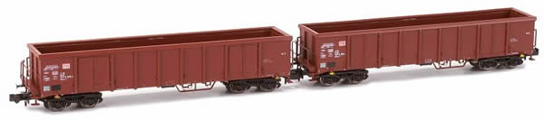 Kato HobbyTrain Lemke H23405 - German 2pc Set Open Goods Wagon Eanos X-052 of the DB AG