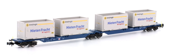 Kato HobbyTrain Lemke H23718-10 - 2pc Container Car Set Type Sggmrs 715 Nieten Fracht of the DB AG