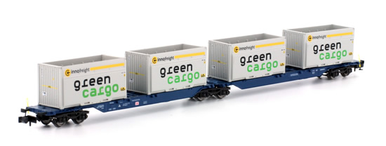 Kato HobbyTrain Lemke H23718-5 - 2pc Container Car Set Type Sggmrs 715 Green Cargo of the DB AG