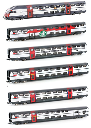 Kato HobbyTrain Lemke H25100 - Swiss IC2000 Double Decker Coach Set