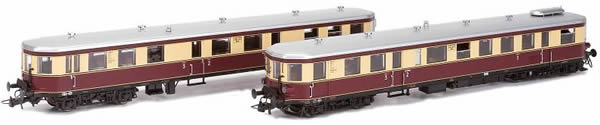Kato HobbyTrain Lemke H303601 - German 2pc Diesel Railcar Set DMUs VT137/VS145 of the DRG