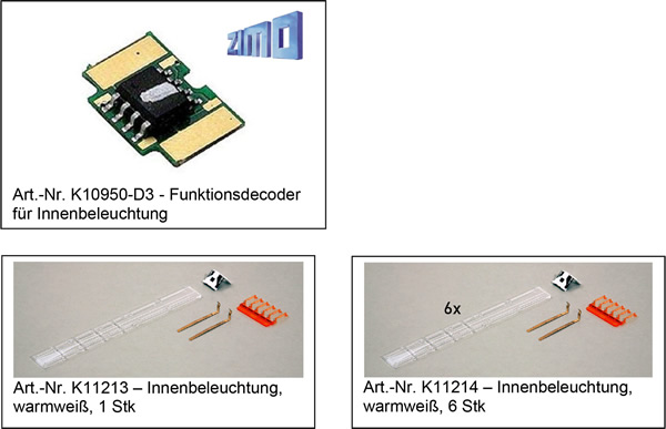 Kato HobbyTrain Lemke K10950-D4 - Economy set function decoder + interior lighting ICE 4