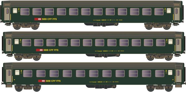 Kato HobbyTrain Lemke K23012 - 3pc carriage set Bm 2nd class new logo green IB