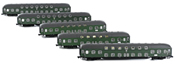 5pc Double Decker Passenger Coach Set - Green