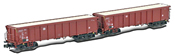 German 2pc Set Open Goods Wagon Tamns 893 of the DB AG