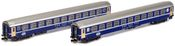 2pc Swiss RIC Sleeping Car Eurofima Blue of the SBB