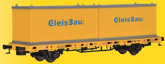 Kibri 26268 - H0 Low side car with 2 containers GleisBau,finished model
