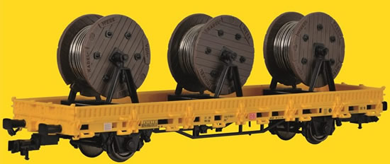 Kibri 26269 - H0 Low side car with 3 cable reels GleisBau,finished model