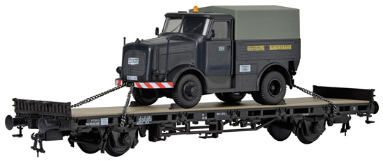 Kibri 26270 - H0 Low side car with KAELBE Truck unit with cavas top, Finished model