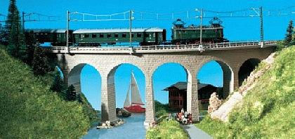 Kibri 37665 - N/Z Albula viaduct with ice breaking foundations, curved, single track